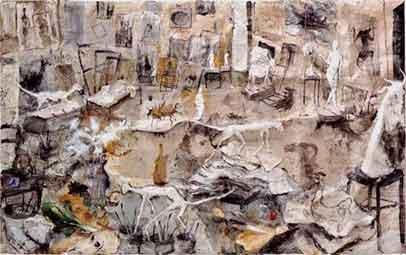 L'atelier aux sculptures, 1993. Técnica mixta sobre lienzo, 235 x 375 cm.