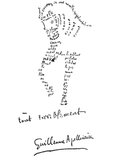 Guillaume Apollinaire. Caligrama. Cheval.
